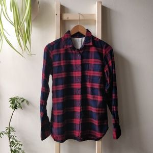 Muji Cotton Plaid Button Down Flannel Red Navy S